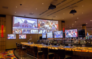 A large projection screen and twelve 55in LED TV's make the Sunset Bar at the Hollywood Casino St. Louis one of the highlights of the facility.