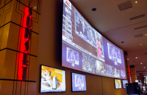 The curved projection screen provides plenty of large-scale sports and marketing display capability the St Louis facility.