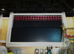 With 266 individual LED projected cubes, this Christie Microtile wall as the third largest in the nation. The upper half of the image (shot during the construction of the casino) shows the extensive support structure behind the cubes.