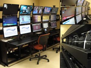 This video monitoring array was  custom fabricated for this installation providing a location for all A/V control and production of marketing and promotional events.