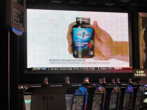 Floor wide; video promotions, sporting events and more can be seen clearly from this huge video installation.