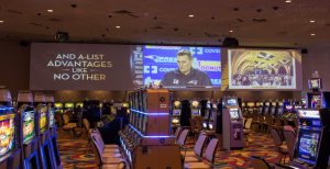 "Three projected ""Billboards"", each being hit with three Christie Digital M series projectors, deliver sports, movie trailers, and marketing content to the casino floor."