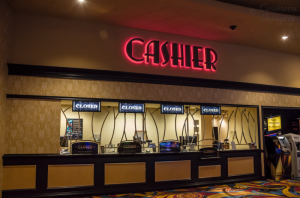 The cash cage utilizes four digital signs to display the status of each window.  Signs may read Closed, All Guests, Next Window Please, or Producers and Executive Producers (the highest level of the Hollywood Casino player tiers).