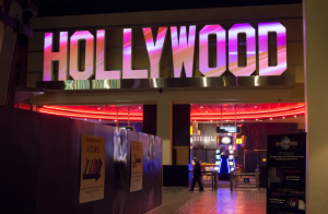 "Here, we're projecting visual stimuli on the front face of one of two huge three dimensional ""Hollywood"" signs.  Custom content masking ""clips"" the portions of the image that don't fall in the letters.  Two Christie Digital 10k projectors were used to cover each Hollywood sign."