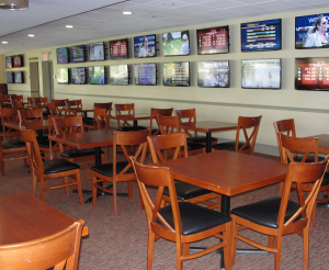 This 90 seat dining area is host to 26 LED Smart TV's. All 130 TV's at the facility are controlled via Control-Point's automation software.
