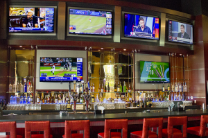 Six 60 inch TV's mounted behind the Bar.