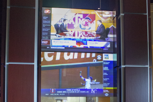 Skybox sports bar glass projection surface powered by two Christie Laser projectors.