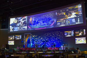 The casino stage and bar is illuminated by 4 Martin moving head LED fixtures, and 10 RGBW PARs.  Surrounding the stage are six 60 inch LED Tv's and above is a blended and warped VuWall projection installation powered by 3 HD 10k Christie projectors.   The bar staff uses a Control-Point tablet to change the VuWall feeds and arrangement as well as the TV Feeds and overhead and PA audio sources and volume.