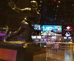 The Heisman Trophy awarded to Doug Flutie in 1984 greets guests as they enter the Pub. With over 30 HD TVs, 12 HD projections on glass and a 37 x 9 foot projection wall above the bar, there is not a bad seat in the house.