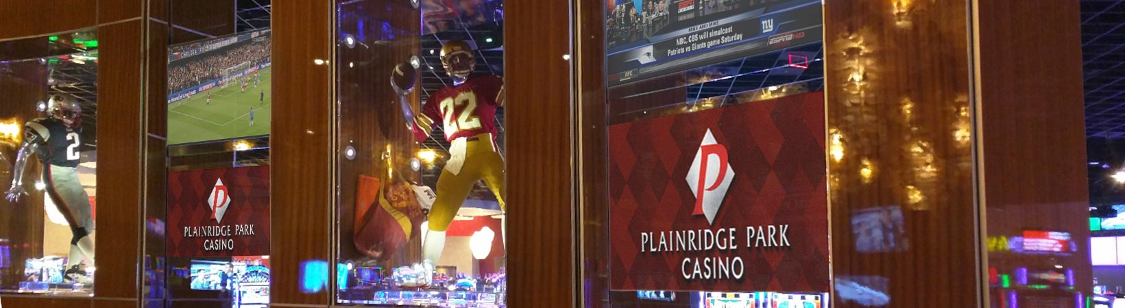 Flutie's Sports Pub Projection on Glass